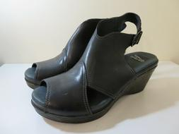 DANSKO LEATHER WEDGE SANDALS SHOES VANDA BLACK NEW 41 FITS 1