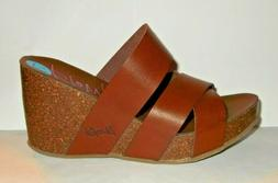 Blowfish Malibu Brown Faux Leather & Cork Wedge Slip On Heel
