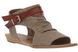 BLOWFISH MALIBU Women's Sandals Brown Canvas Zip Up Casual D