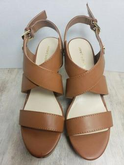 Marc Fisher Leather Wedge Sandals Brown Size 10M