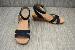LifeStride Max Denim Slingback Wedge Sandals - Women's Size