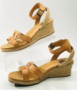 UGG Maysie Tawny Brown Leather Espadrille Wedge Sandals 1009