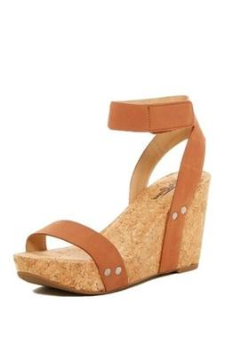 Lucky Brand Mcdowell Leather Ankle Strap Wedge Sandals 8.5 M