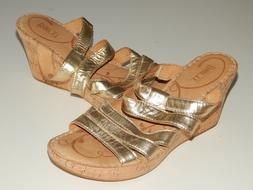 BORN metallic leather gold cork wedge sandals women 39 us 8