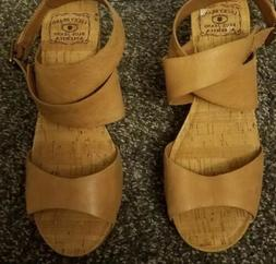 Lucky Brand Moran Brown Leather Wedge Sandals Size 8.5 NWOB