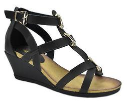 DREAM PAIRS  MULAN New Women Gladiator Straps Low Wedge Heel