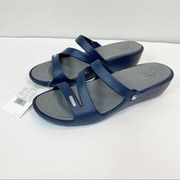 Crocs Navy Blue Patricia Wedge Slide Sandals Womens size 10