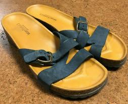 Cristina Francini Navy Leather Buckle Open Toe Wedge Sandals