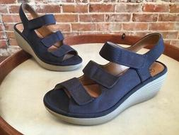 Clarks Navy Nubuck Leather Reedly Juno Triple Strap Wedge Sa