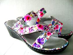 NEW $110 Alegria LOTI Perennial Leather Flower Wedge Shoes S