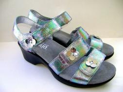NEW $135 Alegria Olivia Iridescent Leather Strappy Wedges Sa