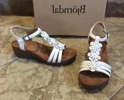 NEW $70 BJORNDAL WOMEN SIZE 10 WHITE LEATHER LOW WEDGE  BROW