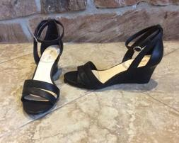 NEW $70 NINE WEST WOMEN SIZE 10 BLACK FAUX LEATHER LOW WEDGE