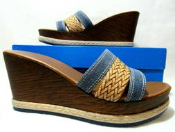 NEW Italian Shoemakers Alia Wedge Sandals 10 Slip On Blue De