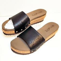 New! Boutique by Corkys Brown & Tan Thick Comfort Wedge Stud