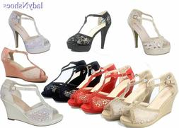 NEW Bridal  Mesh High Heel Wedge Platform Buckle Women's  Sh