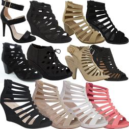 NEW CAGED Open toe Gladiator High Heel Sandal Strappy Ankle