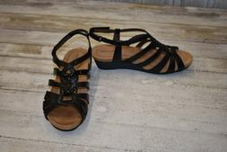 NEW Cobb Hill CCK12 Harla T-Strap Wedge Sandals, Women's Bla