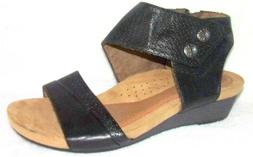 New Rockport Cobb Hill Hollywood Black Leather Wedge Sandals