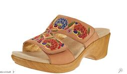 NEW Alegria Embroidered Leather Slip-on Wedge Sandals Linn C