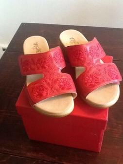 new embroidered leather wedge sandals linn red