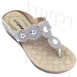 New girl's kids wedge sandals silver t strap casual open toe