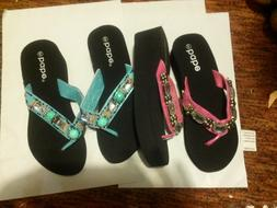 NEW ladies fashion  wedge beach   sandals  with great bling.