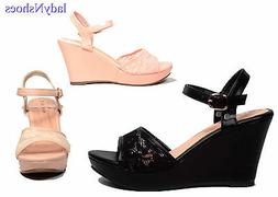 NEW Open Toe Buckle  Wedge Heel Platform Women's  Sandal Sho