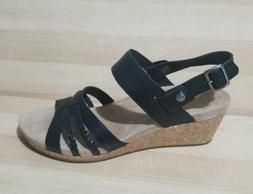 NEW UGG SERINDA LEATHER WEDGE SANDALS WOMENS SIZE 9 BLACK Co