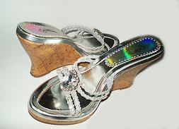 New Silver Wedge Sandals Slip-on Shoes for Women Platform Sl