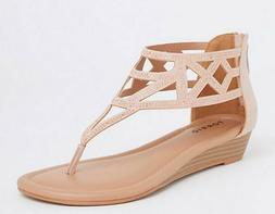New Torrid Size 9 W Blush T Strap Micro Wedge Sandals Wide W