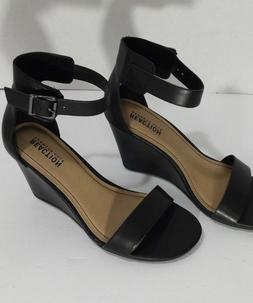 NEW Kenneth Cole Reaction Wedge Sandals 7.5 Black Leather An