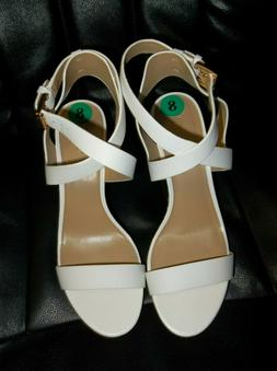 New Michael Kors White Leather Platform Wedge Sandals