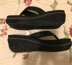 New Volatile  Woman's Sandal Flip Flop  Black Wedge Size 10