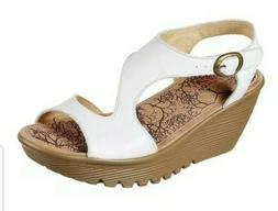 NEW SKECHERS WOMEN PEEP TOE WEDGE WHITE LEATHER MEMORY FOAM