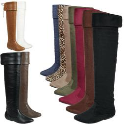 New Women Rear Lace Up Fold-able Cuff Knee High Over The Kne