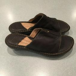 """NEW"" BORN Women's Brown Leather 2"" Wedge Heel Sandals Slide"