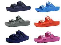 New Women's Double Strap Buckle Slide Soft Footbed Sandal Be
