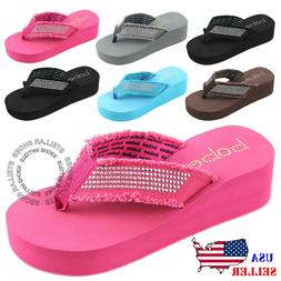 NEW Women's Fashion Wedge Platform Thong Flip Flops Slip On
