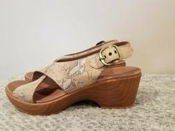 New Dansko Women's Jacinda Dress Sandal Taupe Snake Size 40