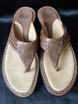 New Women's Sofft Leather Embroidered Thong Wedge Flip Flop