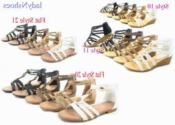 NEW Women's Low Wedge Ankle Strap Zip Open Toe Braided Sanda