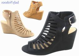 NEW Women's Open Toe Cage Buckle Zipper Wedge Gladiator Sand