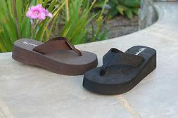 NEW Women's Platform T-Strap Sandals Mid-Wedge Flip Flops Ca