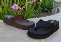 NEW Women's Platforms Mini Wedge T-Strap Sandals Flip Flops