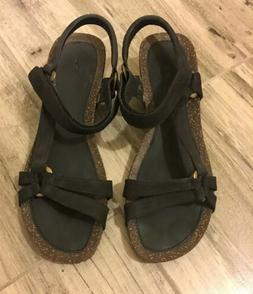 New Teva Women's Sz 10 Black Ventura Cork 2 Wedge Sandals An