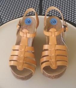 new women s tan strappy wedge heel
