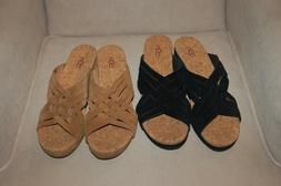 New Women's UGG Lilah Wedge Sandals Black or Brown Sz 8 M
