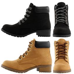 New Womens Ankle Work Boots Suede Lace Up Combat Army Bootie