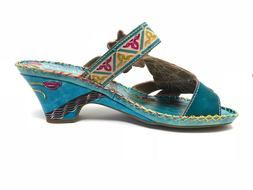 New Womens Corkys Elite Navajo Wedge Sandals Style 066707 Bl